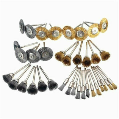 36pcs Mini Wire Steel Brass Brushes Set Polishing Brush Cup Wheels For Rotary