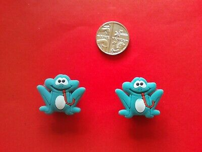 2 Green Frog jibbitz crocs shoe charms loom wrist hair band cake toppers