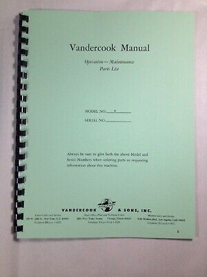 Vandercook #4 Proof Press Operating Instructions and Parts Manual