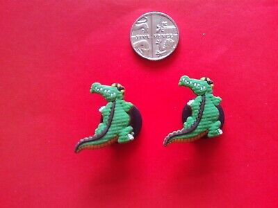 2 Crocodiles jibbitz crocs shoe charms loom wrist hair bands cake toppers