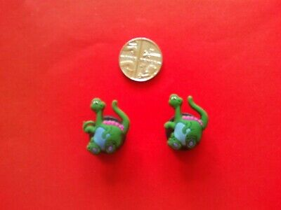 2 Cute Dinosaur jibbitz crocs shoe charms loom wrist hair bands cake toppers
