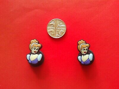 2 Cinderella jibbitz crocs shoe charms loom wrist hair bands cake toppers