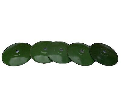 5 x vintage french enamel light shades green coolie industrial salvage
