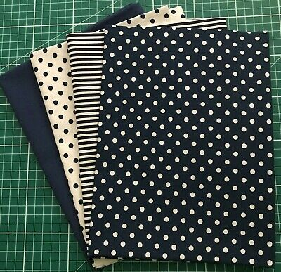 4 X-Large Fq Fat Quarter Bundle 100% Cotton Dark Blue Super Quality Free Uk P&P