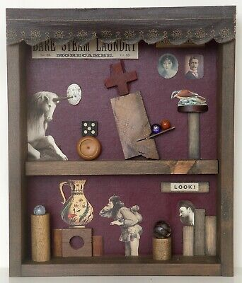 Original One Off Assemblage Art Mixed Media in Reclaimed Timber Display