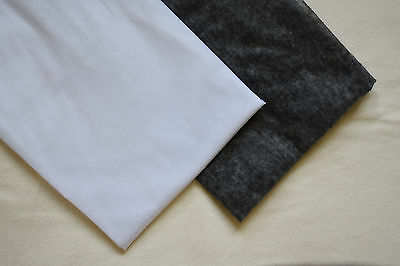"2m Lightweight Fusible Iron-on Interfacing White/Charcoal 150cm 60"" EXTRA WIDE"