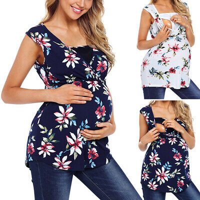 Pregnant Maternity Cloth Nursing Tops Breastfeeding T Shirt Floral Printed 2019