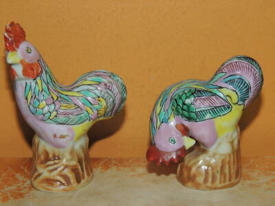 """2 Chinese Mud Chicken 3"""" multicolored mark China Mudman Antique c1910 rooster"""