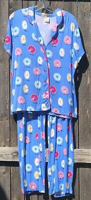 Nwt Munki Munki Pajama Set Top Bottoms Blue With Whimsical Donuts Stretchy~L