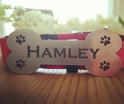 Pet Name Plaque Personalised House Kennel Dog Bone Adhesive Sign Wall Plaque