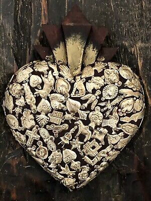 MILAGROS HEART, Wood Heart with Charms, Miracles Mexican Folk Art