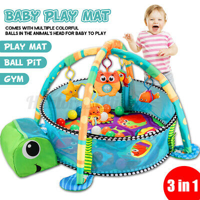 3 In 1 Multifunctional Baby Infant Activity Gym Play Mat W/ 30pcs Ocean