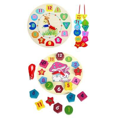 Wooden Clock Educational Learning Sorting Clock Puzzle Play Toy for Toddler Baby