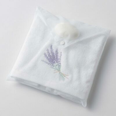 Lavender Bouquet Hand Towel & Soap in Organza Bag by Pilbeam