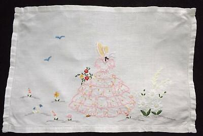 Vintage Hand Embroidered Irish Linen Tray Cloth Mat Doily CRINOLINE LADY