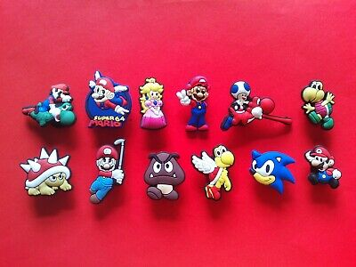 12 Super Mario Sonic & Friends jibbitz croc shoe charms loom bands cake toppers