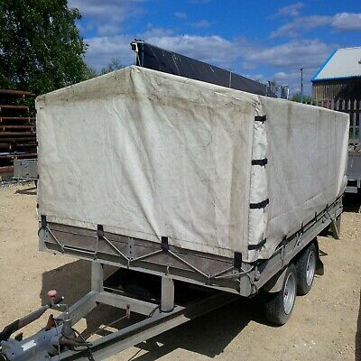 Quality galv/ hardwood 2600kg dropside 4 wheeled trailer with PVC canopy
