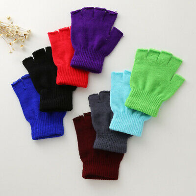 Unisex Knitted Stretchy Half Finger Thermal Solid Gloves Winter Elastic Warm