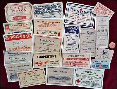SET of 20 Poison STICKERS Vintage-look Victorian Apothecary Halloween Grungy