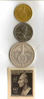 #-9-)-*rare WWII-*German Stamp+ *US and  *German SILVER-brass-STEEL coins