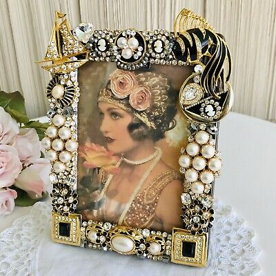 Hand Jeweled Picture Frame 3.5 x 5 Photo Vtg Rhinestones Faux Pearls Deco Glam