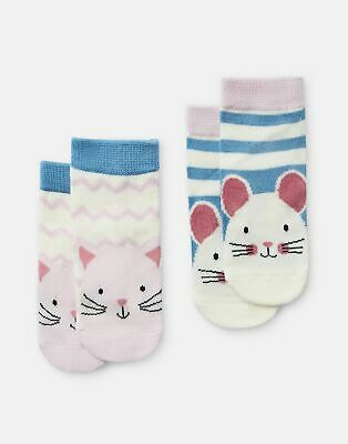 Joules Baby Girls Neat Feet   2 Pack Character Socks -  Size 2yr-3yr