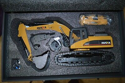 2019 Upgraded 23 Channel HUINA 1580 RC All Metal Excavator Version 4 Plus Case