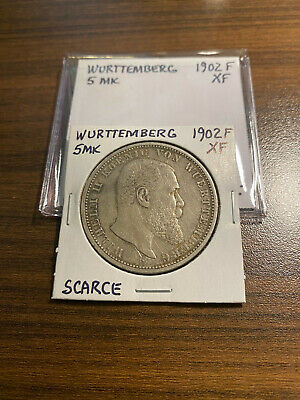 Wurttemberg 1902-F Kaiser Wilhelm Ii Silver Five Marks Coin Extra Fine (Xf)