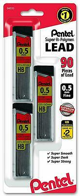 Pentel Super Hi Polymer Lead Refills 0.5 mm 90 Pieces Free Shipping