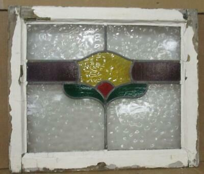 "OLD ENGLISH LEADED STAINED GLASS WINDOW Pretty Leaf & Stripe Design 23.5"" x 20"""