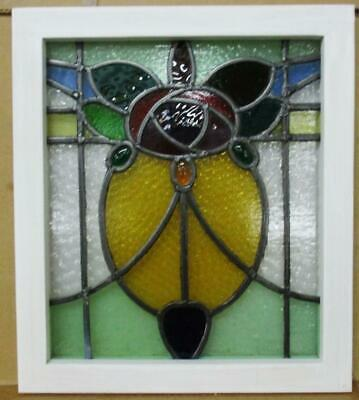 "OLD ENGLISH LEADED STAINED GLASS WINDOW Stunning Rose With Jewels 16.75""x 19.25"""