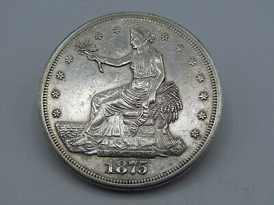 1875-S $1 US SILVER TRADE DOLLAR COIN .900 SILVER AU DETAILS z7