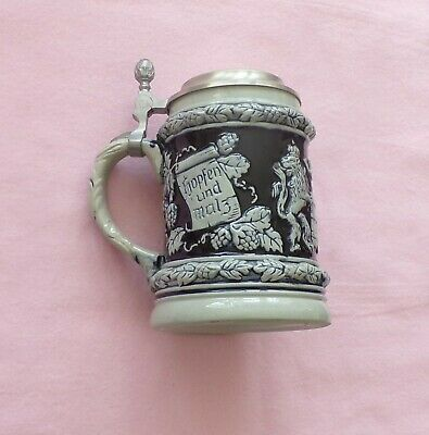 BEER STEIN w PEWTER LID WESTERN GERMANY EX COND IMPRESSED LETTER A