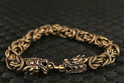 chinese brass hand carved dragon head statue bracelet decorate Art
