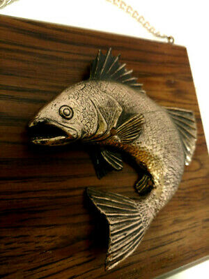 3 D Fish Wall Hanging Mounted on Wood Plaque Made In Canada