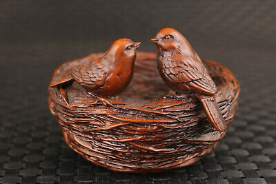 Rare  Chinese boxwood dancing birds love home Figure statue collection Art deco