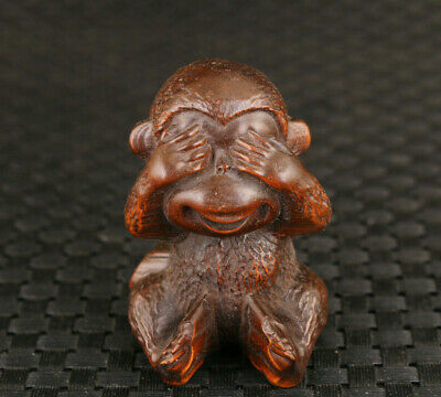 Lucky chinese old boxwood hand carving monkey statue collectable Table deco