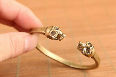 Cool Chinese old bronze hand carving skull head bracelet noble gift