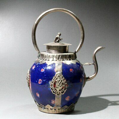 China Collectable Miao Silver Armour Porcelain Carve Monkey & Dragon Old Tea Pot