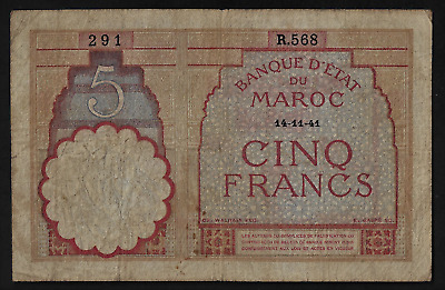 Morocco(1)Bank Note  5 Francs  14.11.1941   P 23 A  B  Very Good