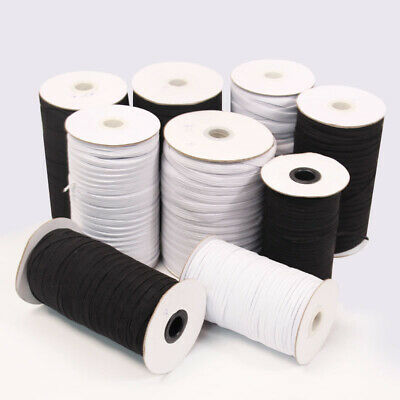 "Flat Braided Elastic Band Roll 1/8"" (3mm) width White/ Black 168 Yards Roll"