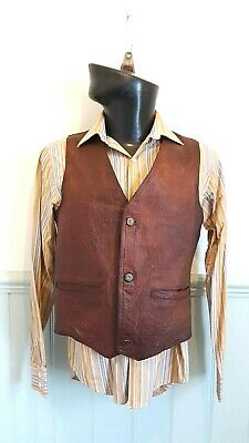 """Mens Small Vintage Lined Full Leather Lacoste Waistcoat 36"""", Motorcycle, Biker"""