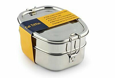 Cal Tiffin Stainless Steel OVAL Bento Lunchbox (Made in INDIA); (3-compartment)