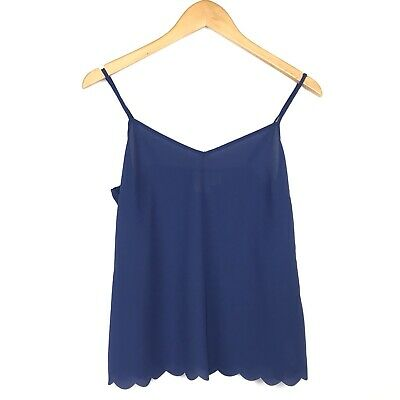 Anthropologie E By Eloise Cami Top Sz Sm Blue Spaghetti Strap Scalloped Hem
