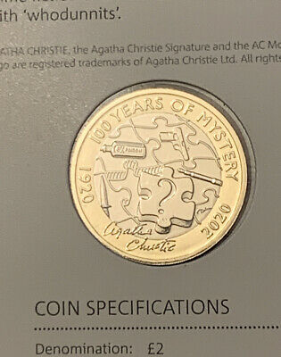 2020 Royal Mint Two Pound £2 Coin Agatha Christie BUNC On Card From Annual Set
