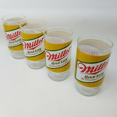 Vintage Miller High Life Drinking Beer Glasses Tumblers Set of Four Champagne