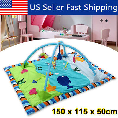 3 in 1 Baby Gym Floor Play Mat Musical Activity Fitness Kick & Play Hanging  US