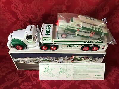 """2002 Rare-Pure White-Hess """"Toy Truck And Airplane"""" New In Box-Mint-Non Yellowing"""