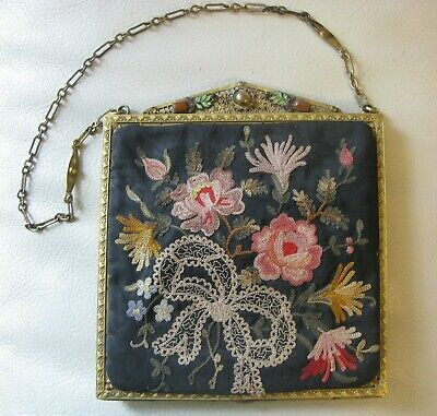 Antique Gold Filigree Jewel Enamel Frame Forbidden Stitch Embroidery Bead Purse