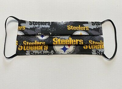 Pittsburgh Steelers Face  Mask Washable Reversible Elastic Handmade (Yellow)